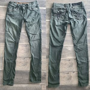 ROCK REVIVAL 👖 ARMY GREEN JEANS 🔥 SIZE 27